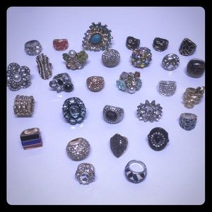 Lot of costume rhinestone bling rings